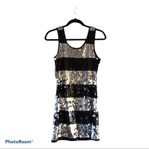 Silver and black sequined mini tank dress